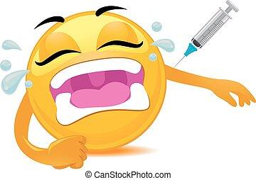 Smiley Emoticon getting Vaccine - Vector Illustration of...