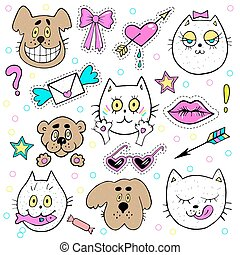 Fashion patch badges with kitten, puppy, teddy bear, lips, envelope and other elements. Vector illustration isolated on white background. Set of stickers, pins, patches in cartoon 80s-90s comic style.