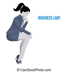 Business lady sitting thinking template. Sitting pensive...