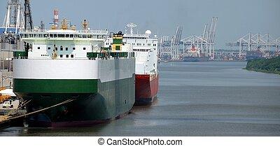 Seaport - ships moored at seaport Savannah River Georgia