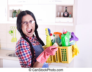 Frustrated cleaning lady - Frustrated woman with rubber...