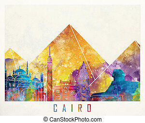 Cairo landmarks watercolor poster