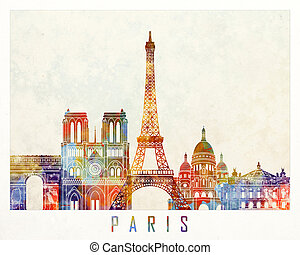 Paris landmarks watercolor poster