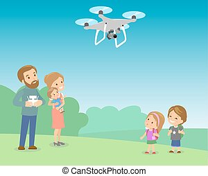 Father Operating Drone By Remote Control With Kids In The...