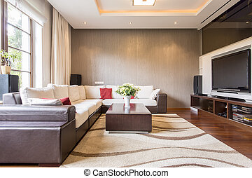 Modern sitting room in new luxury residence