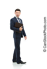 Side view of a smiling businessman, On white background -...
