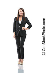 Portrait of young happy smiling businesswoman in suit...