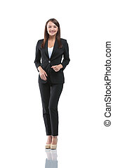 Young smiling businesswoman isolated on white - Portrait of...