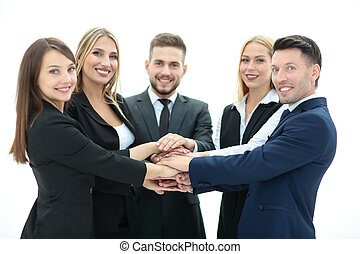 Team of successful and confident people posing on a white...