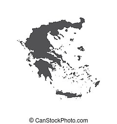 Hellenic Republic map silhouette on the white background....