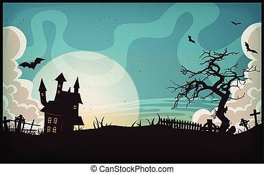 Halloween Landscape Background - Illustration of a cartoon...