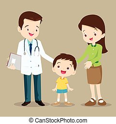 doctor and cute boy - Vector illustration of a mom and son...