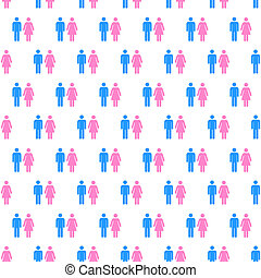 Men and women couples symbols. Population seamless pattern....