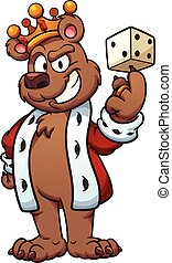 King bear balancing a dice on its finger. Vector clip art...
