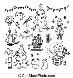 Christmas icons and elements set. Hand drawn vector...