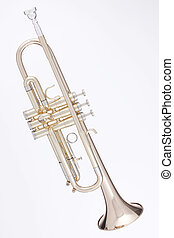 Gold Trumpet Isolated Against White - A professional gold...