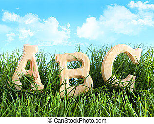 ABC letters in the grass with blue sky