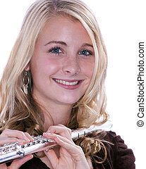 Flute Player Isolated on White - A blond blue eyed teenage...
