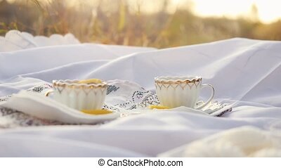 Tea cups outdoors at picnic during autumn with bokeh and sunshine in slowmotion. 1920x1080