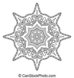 Monochrome Outline Mandala. Oriental Decoration for Coloring...