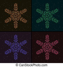 Set of Christmas Glowing Colorful Snowflakes. Design...