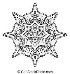 Monochrome Contour Mandala for Coloring Book. Anti-stress...