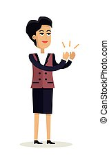 Business Woman Clapping Hands with Happy Face - Business...
