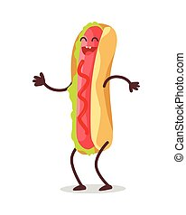 Hot Dog Dancing Isolated on White. Funny Food - Hot dog...