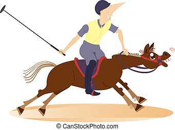 Polo - Man on horse playing polo Illustration