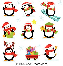 Cute Penguin Set - Collection of cute penguin characters.