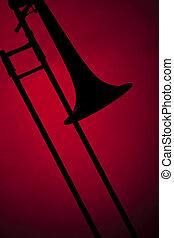 trombón, silueta, aislado, rojo