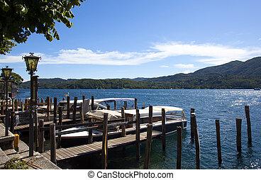 vista, encima, Orta, lago, Italia