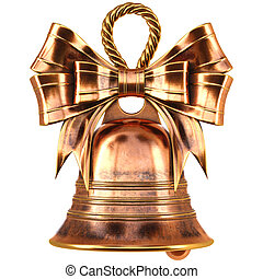 Christmas brass bell with a bow. isolated on white. 3D...