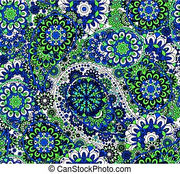 Vector seamless pattern in Eastern style. Colorful element for design. Ornamental lace tracery background. Ornate floral decor for wallpaper. Endless texture. Colored pattern fill