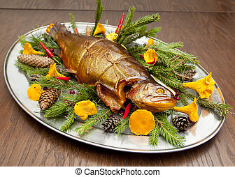 Plate with smoked trout