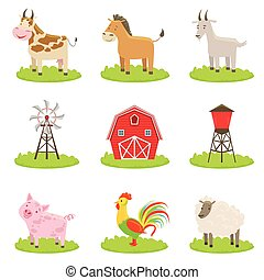 Farm Associated Animals And Objects Set