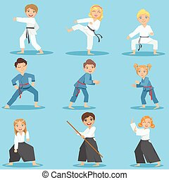 Kids On Martial Arts Training Set Of Bright Color Isolated...