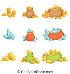 Treasure And Riches Set OF Game Design Elements. Cute...