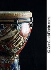 latín, tambor, vertical, formato, aislado, contra, Djembe,...