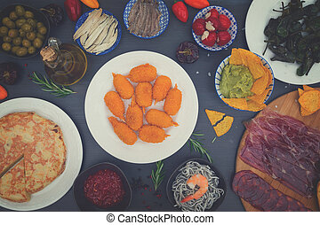 Table with spanish tapas
