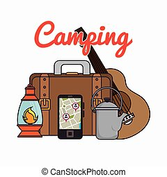 camping equipment set icons