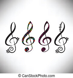 Choose from four assorted decorative G clefs in this music...
