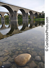 Bridges crossing the river - Bridges over the river Ardeche...