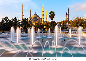 Illuminated Sultan Ahmed Mosque (Blue Mosque), Istanbul,...