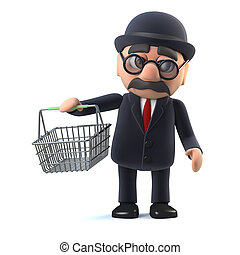 3d Bowler hatted British businessman goes shopping - 3d...