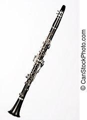 clarinete, completo, isolado, ligado, branca