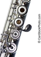 flauta, primer plano, aislado, en, blanco