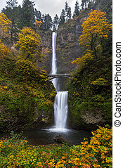 Multnomah Falls in Autumn - Fall Colors at Multnomah Falls...
