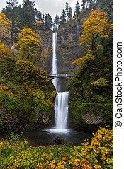 Multnomah Falls in Autumn - Fall Colors at Multnomah Falls...