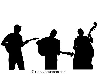 Rock group concert on white